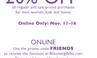 20% off at Bloomingdales!