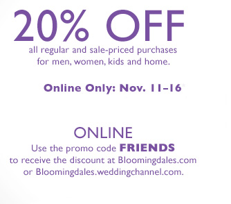 The absolute best way to save money at Bloomingdales is by shopping the Friends and Family sale and stacking a % off promo code with your order for unbelievable discountson everything you love. But since that sale comes about times a year, you can also check out the sale section where thousands of clothes, shoes, handbags, jewelry and accessories and home items are discounted by up to 80% off.