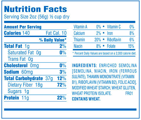 Penne pasta nutrition facts for Atkins cuisine penne pasta 12 oz 340 g