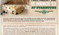 March 23rd is Free Pastry Day at Starbucks!