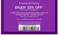 Save 20%! Saks 5th Ave Friends & Fam Pass