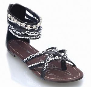 vintage havana gladiator sandals with chains