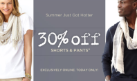 30% off Shorts & Pants at Banana Republic. Today Only!