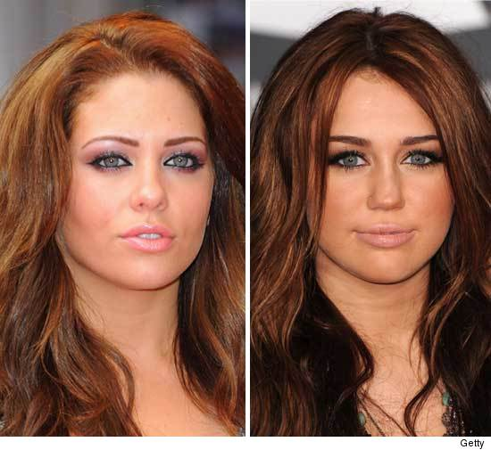 miley cyrus hair colour. Miley Cyrus (right) and a