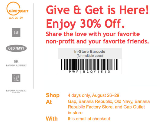 Gap outlet coupon 30