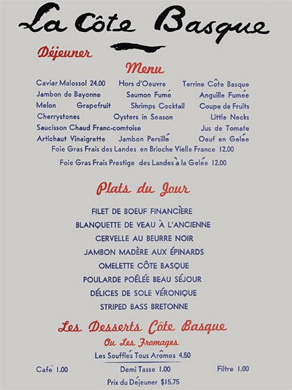 vintage spotting restaurant menus from the 39 60 39 s and beyond the luxury spot. Black Bedroom Furniture Sets. Home Design Ideas