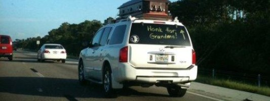Disturbing Photo of the Day: Honk for Dead People!