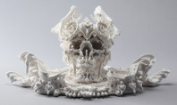 Halloween Art Spotting: High style porcelain skulls
