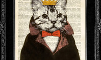 Etsy Spotting: Upcycled Cat King Print