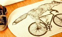 Fox on a bike! Cool rug find of the day.