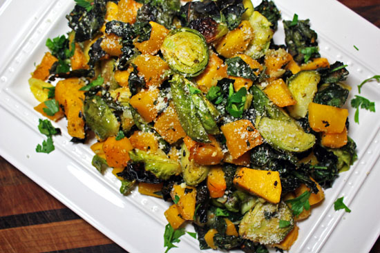 Parmesan Roasted Brussels, Butternut Squash And KaleThe Luxury Spot