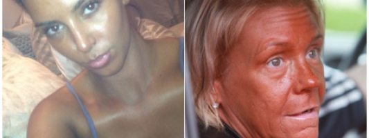 """Celeb Spotting: Kim Kardashian Challenges 'Tanning Mom' To A """"Who's Tanner?"""" Competition"""