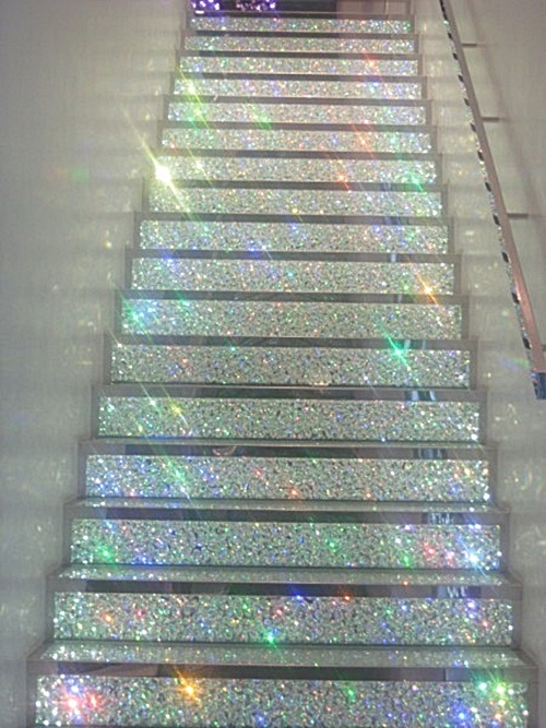 Have You Ever Looked At Your Stairs And Thought To Yourself My Stairs Could Stand To Be A Bit More Gay I Hereby Proclaim Glittery Stairs To Be The Next