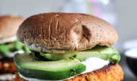 Yum Alert: Smoky Sweet Potato Burgers w/Roasted Garlic Cream & Avocado