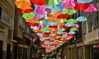 Art Spotting: Magical Umbrellas Fall from the Sky