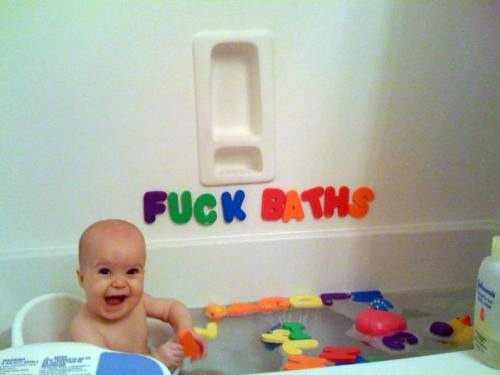 baby funny bath time