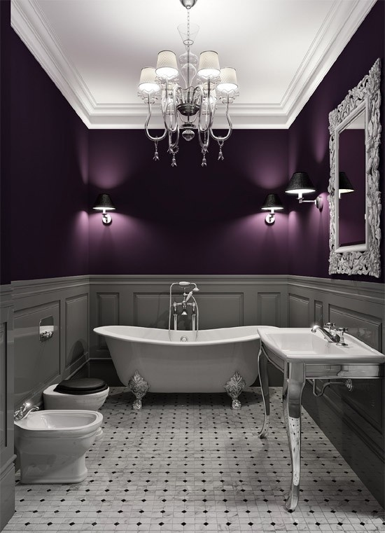 plum and gray interior design