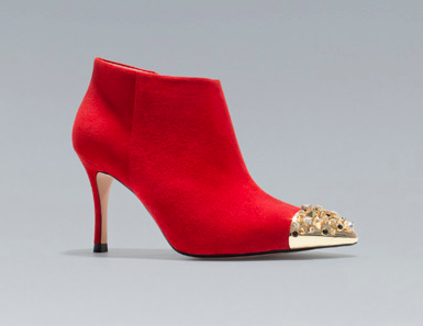 Zara Ankle Boot with Studded Cap Toe