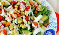 Roasted Corn & Tomato Summer Salad with Lemon-Basil Yogurt Dressing