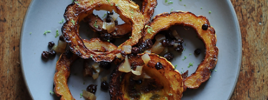 Yum Alert: Crispy Delicata Rings with Currant, Fennel & Apple Relish