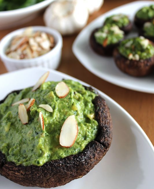 Spinach Avocado Stuffed Portobellos