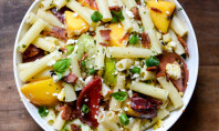 Smoky Heirloom Tomato & Grilled Peach Pasta Salad