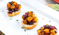 Yum Alert: Butternut Squash, Cranberry, and Goat Cheese Crostini