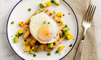 Yum Alert: Fried Egg And Mango Salsa Waffle