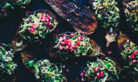 Yum Alert: Baked Aubergine with Brussels Sprout, Beluga and Pomegranate