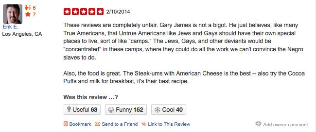 racist restaurant