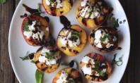 Yum Alert: Grilled Peaches with Whipped Coconut Cream, Honey Balsamic Drizzle & Mint