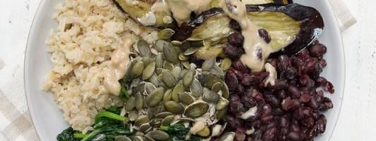 Yum Alert: Roasted Aubergine Tahini Bowl
