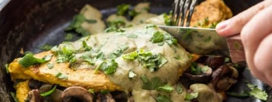 Yum Alert: Vegan Asparagus Mushroom Omelette