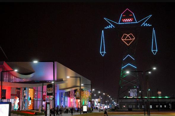 giant neon robot
